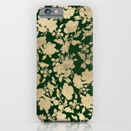 Stylish forest green chic gold elegant floral pattern iPhone Case