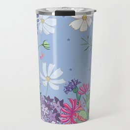Blue Spring Floral Garland Travel Mug
