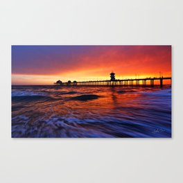 Sunset Huntington Beach Pier  Canvas Print