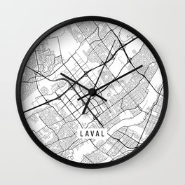 Laval Map, Canada - Black and White Wall Clock