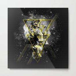 Cosmic Tiger B&W Metal Print