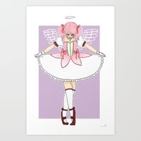 madoka magica Art Prints featuring madoka by flourpots