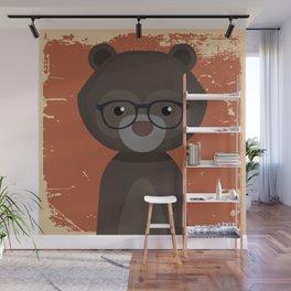 Hipster Bear Wall Mural