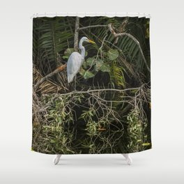 Great White Egret on a Branch Shower Curtain