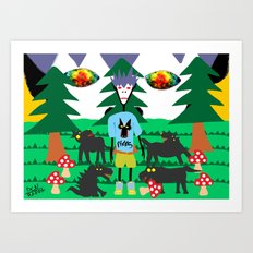 Bad trip in the park with the dogs high laughing at me  Art Print