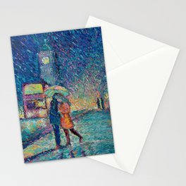 Lovers in Rainy London - romantic city landscape for Valentines day by Adriana Dziuba Stationery Cards