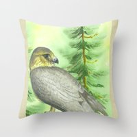 merlin Throw Pillows featuring Merlin Falcon by Holly Barbo