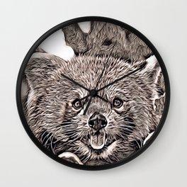 Rustic Style - red Panda 2 Wall Clock
