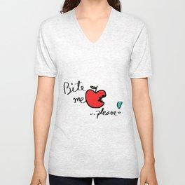 Bite me Please Apple Unisex V-Neck