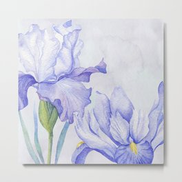 Watercolor Iris Metal Print