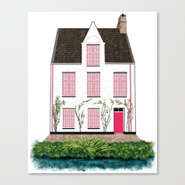 Pink and White House in Bruges Canvas Print