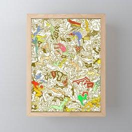 Kamasutra LOVE - Retro Yellow Framed Mini Art Print