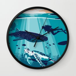 Belize Travel poster vintage tropical reef Wall Clock