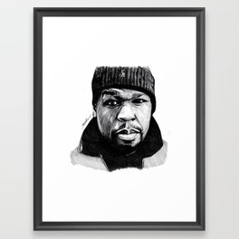 50 Cent Pen Drawing Framed Art Print