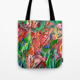 Tulips - palette knife abstract nature flower painting by Adriana Dziuba Tote Bag