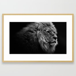Black Print Lion Framed Art Print