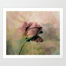 Painterly Pink Rose Bud Art Print