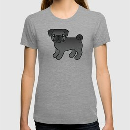 Black Pug Dog Cute Cartoon Illustration T-shirt