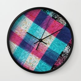 Artsy geometrical teal pink black watercolor lace Wall Clock
