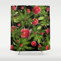 cherry Shower Curtains featuring cherry by mark ashkenazi