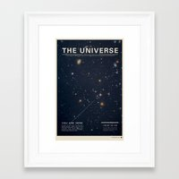 comic Framed Art Prints featuring THE UNIVERSE - Space | Time | Stars | Galaxies | Science | Planets | Past | Love | Design by Mike Gottschalk