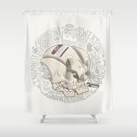 philosophy Shower Curtains featuring Philosophy Skuhl by clogtwo