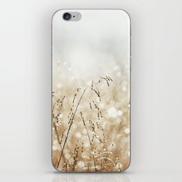Dewdrop Nature Photography, Neutral Dew Drop, Gold White Brown Beige, Cream Water Drops iPhone Skin