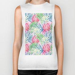 Pineapple & watercolor leaves Biker Tank
