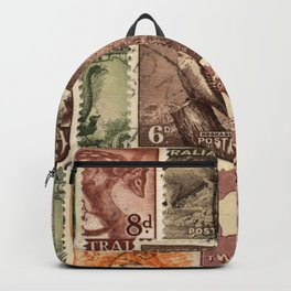 Vintage Australian Postage Stamps Collection Backpack