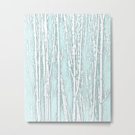 Birch Trees Pattern Pastel Blue Metal Print