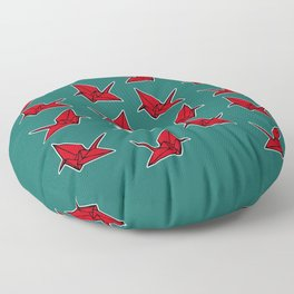 PAPER CRANES RED WHITE AND BLUE Floor Pillow