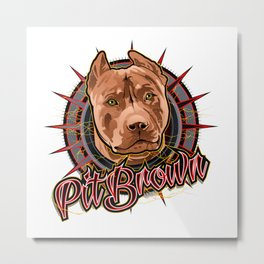Pit brown dog art Metal Print