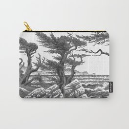 MONTEREY CYPRESS AND POINT LOBOS PEN DRAWING IN CROSSHATCH Carry-All Pouch