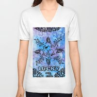 n7 V-neck T-shirts featuring Lucky goes pop n7 by Lucky art
