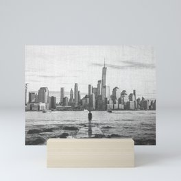 New York City Skyline Views and Vibes Black and White Mini Art Print