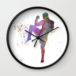 Taewondo-karate-muay thai-wrestling in watercolor 05 Wall Clock
