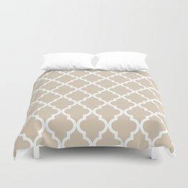 Moroccan Quatrefoil Pattern: Beige Duvet Cover