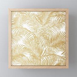 Elegant faux gold glitter tropical plants pattern Framed Mini Art Print