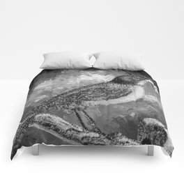 Watercolor Bird with a Berry (Black and White) Comforters