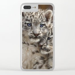 Snow Leopard Cubs - Playmates Clear iPhone Case