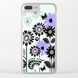 Trendy flowers & butterflies in purple, pink, green and B&W Clear iPhone Case