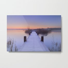 Boardwalk on a lake at dawn in winter, The Netherlands Metal Print