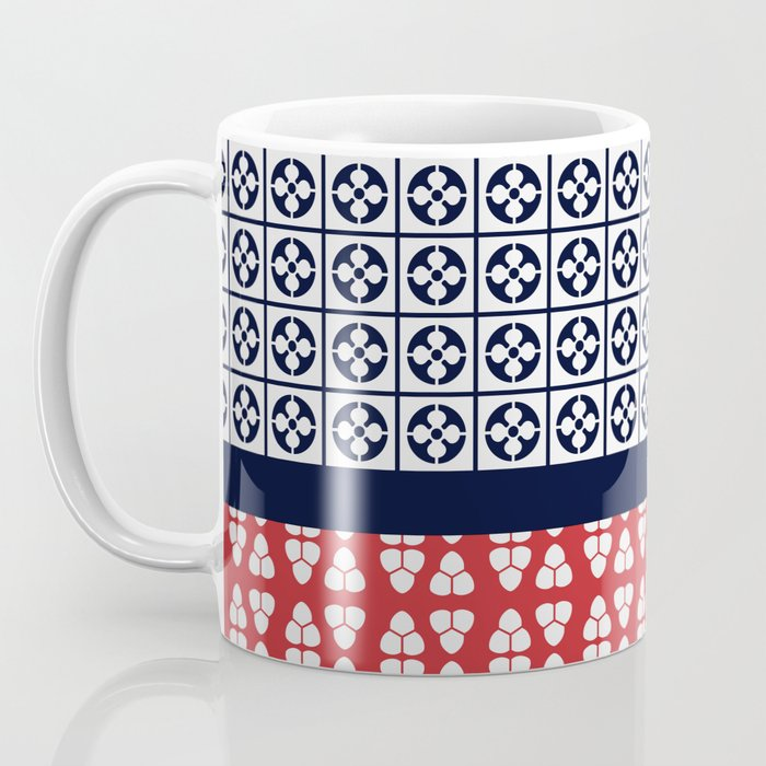 Japanese Style Ethnic Quilt Blue and Red Coffee Mug