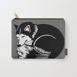 Black and White Sleeping Husky Carry-All Pouch