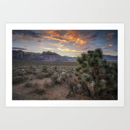 Fiery Clouds Over Red Rock Art Print