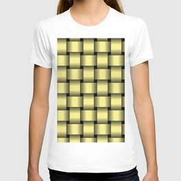 Large Khaki Yellow Weave T-shirt