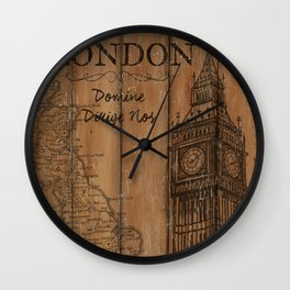 Vintage Travel Poster London 2 Wall Clock