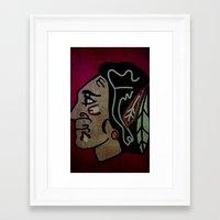 blackhawks Framed Art Prints featuring Blackhawks by Jide