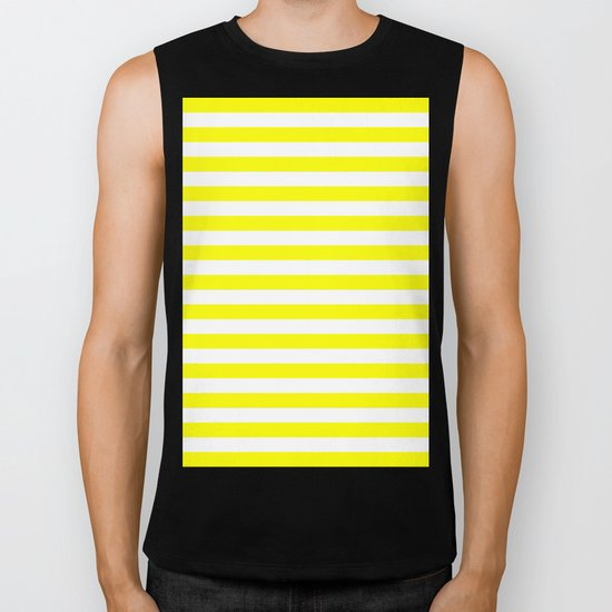 Horizontal Stripes (Yellow/White) Biker Tank