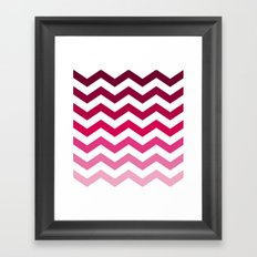 Pink Ombre Chevron Framed Art Print